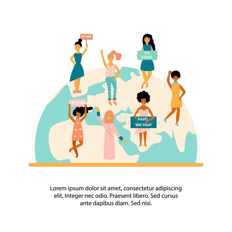Grupp av att protestera kvinnor som står på jordklotet vektor illustrationer