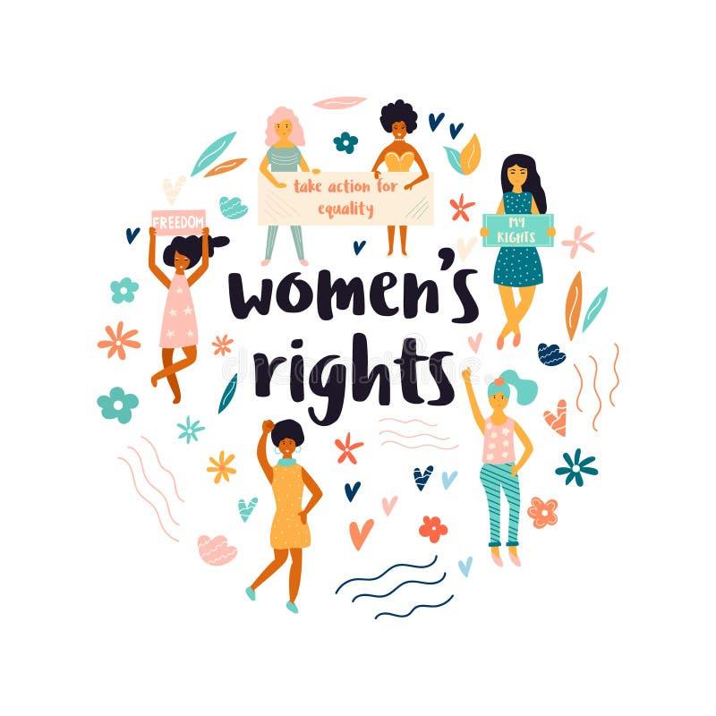 Grupp av att protestera unga kvinnor Kvinnligt begrepp vektor illustrationer