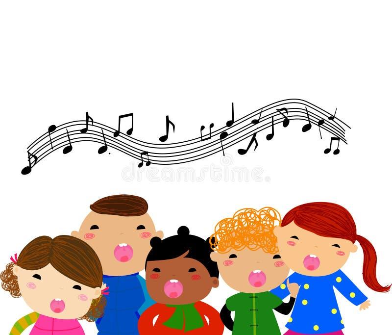 Grupp av att sjunga för barn vektor illustrationer