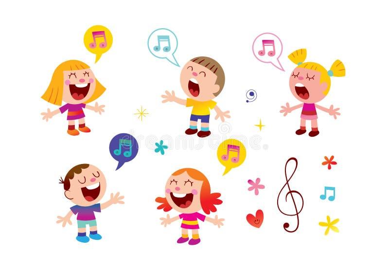 Grupp av att sjunga för ungar royaltyfri illustrationer