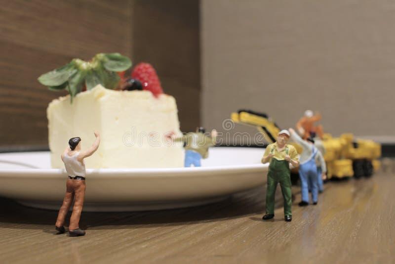 Grupp av av mycket små miniatyrhantverkare som tillsammans arbetar royaltyfri bild