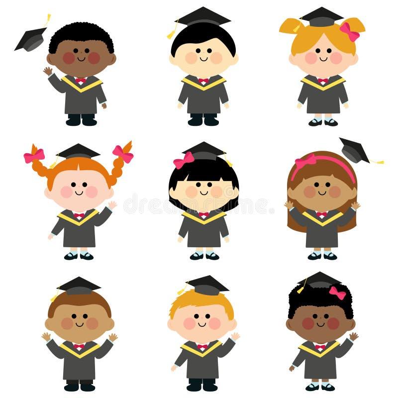 Grupp av avläggande av examenungar med avläggande av examenkappor och hattar vektor illustrationer