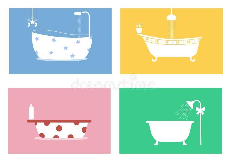 Grupp av badkar, vektorillustrationer royaltyfri illustrationer