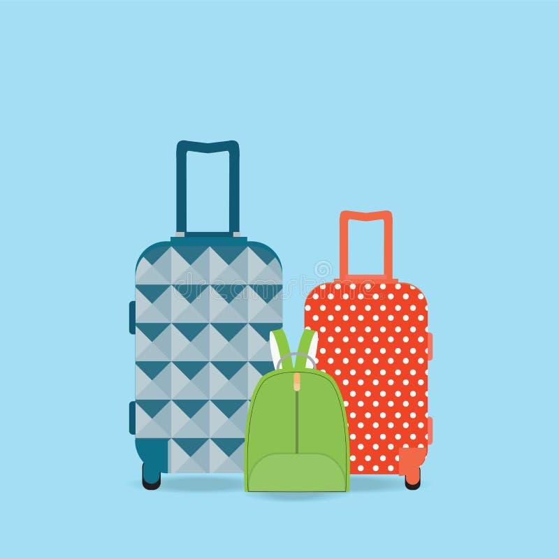 Grupp av bagage stock illustrationer