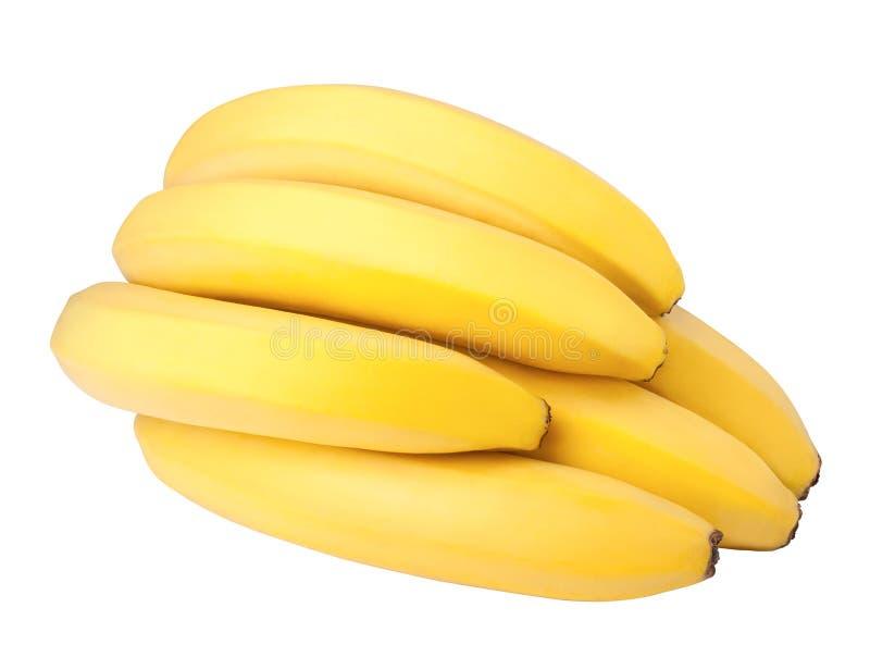 Grupp av bananer som isoleras på vit bakgrund, urklippbana, fullt djup av fältet royaltyfri bild