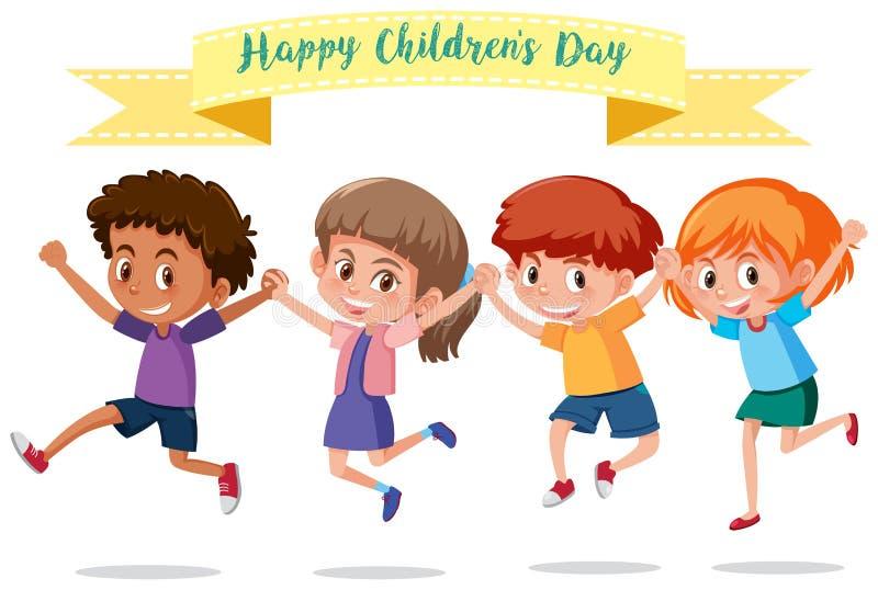 Grupp av barn med banret vektor illustrationer