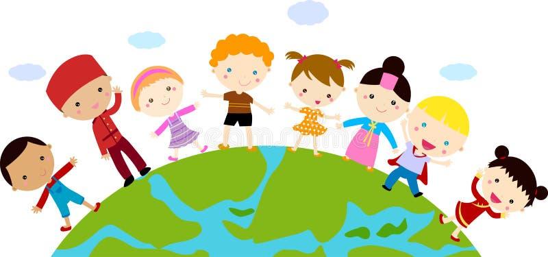 Grupp av barn och jordklotet royaltyfri illustrationer