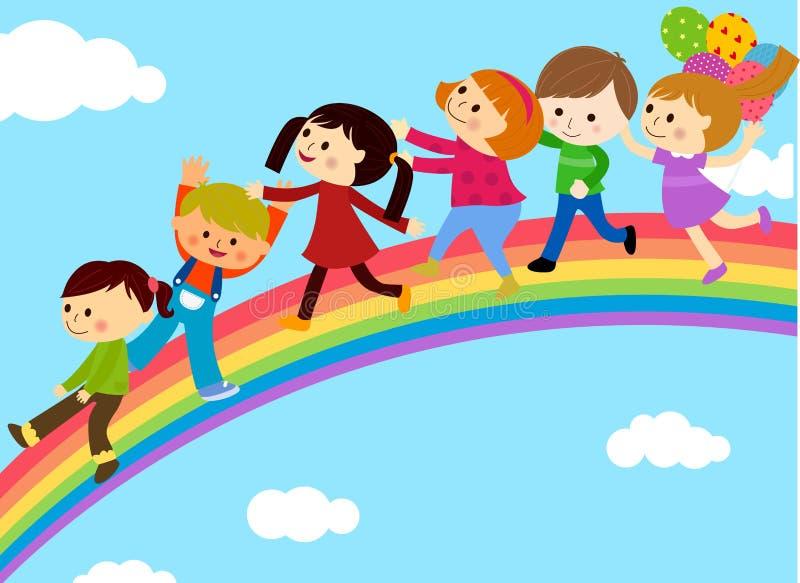 Grupp av barn och regnbågen stock illustrationer