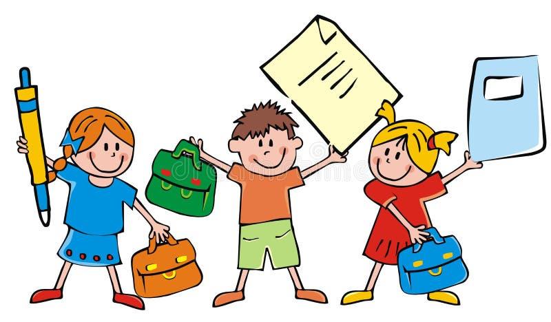 Grupp av barn och skolautrustning, skolväskor, penna och skrivbok stock illustrationer