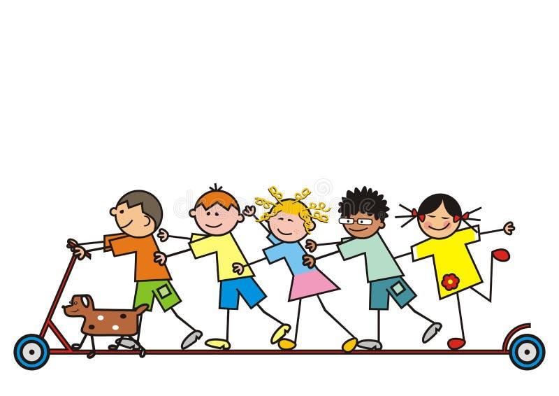 Grupp av barn på en sparkcykel vektor illustrationer
