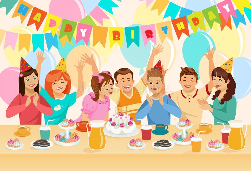 Grupp av barn som firar lycklig födelsedag stock illustrationer