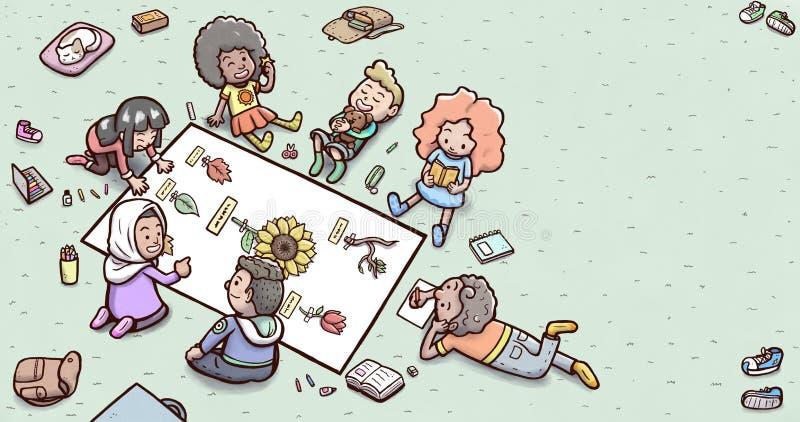 """Grupp av barn som gör botanikläxa på den horisontalgolvâ€en """" royaltyfri illustrationer"""