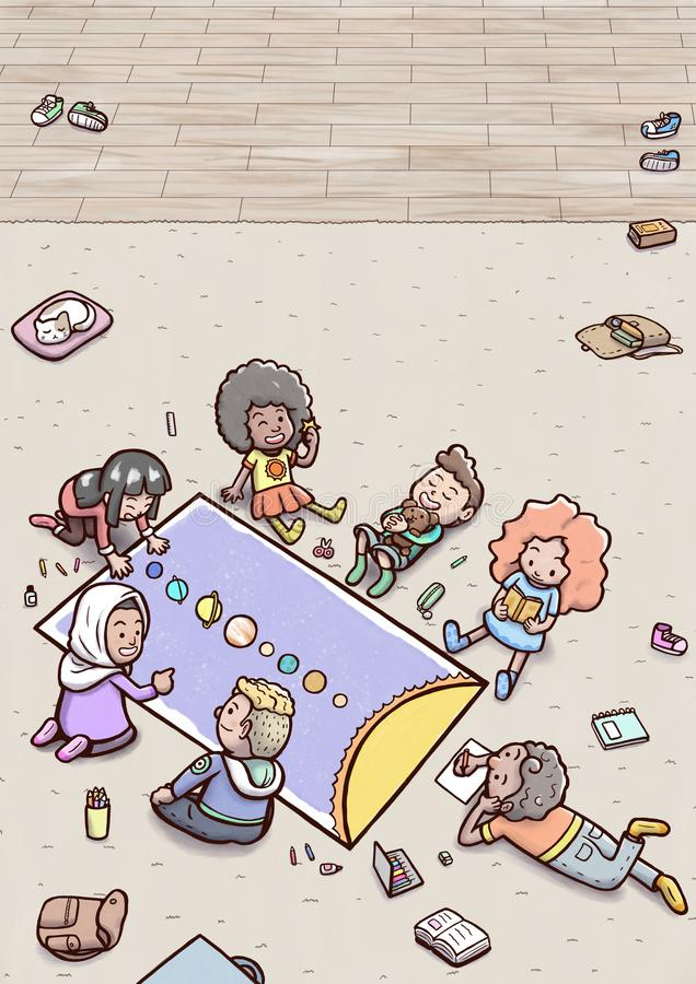 """Grupp av barn som gör solsystemläxa lodlinje på för golvâ€en """" royaltyfri illustrationer"""