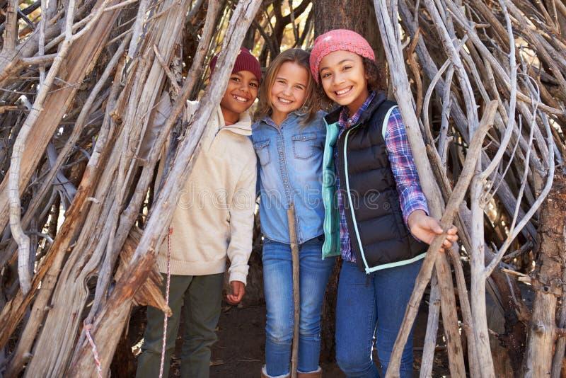 Grupp av barn som spelar i Forest Camp Together arkivbilder