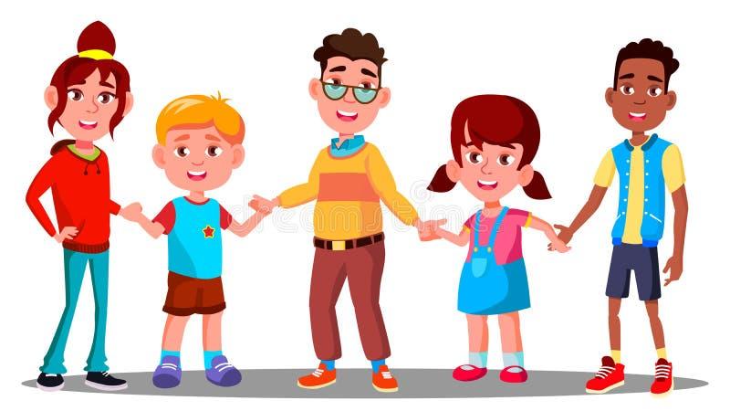 Grupp av barn som tillsammans rymmer vektorn för händer multiracial Europeisk och afro- amerikan isolerad knapphandillustration s stock illustrationer