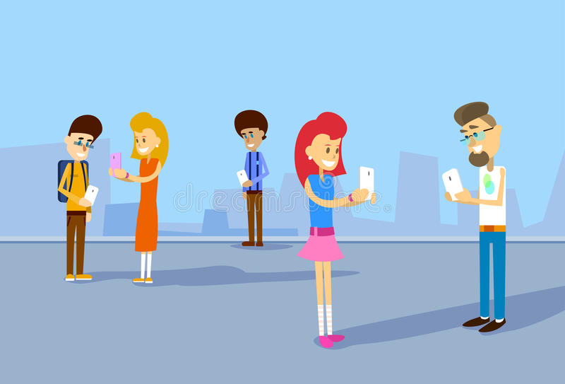 Grupp av begreppet för kommunikation för studentHolding Cell Smartphone det sociala nätverk royaltyfri illustrationer