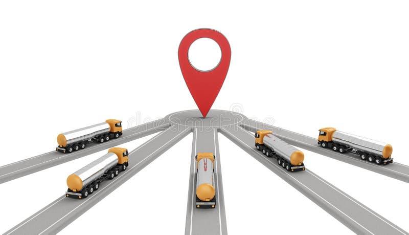 Grupp av bensindrivna lastbilar på en destination vektor illustrationer