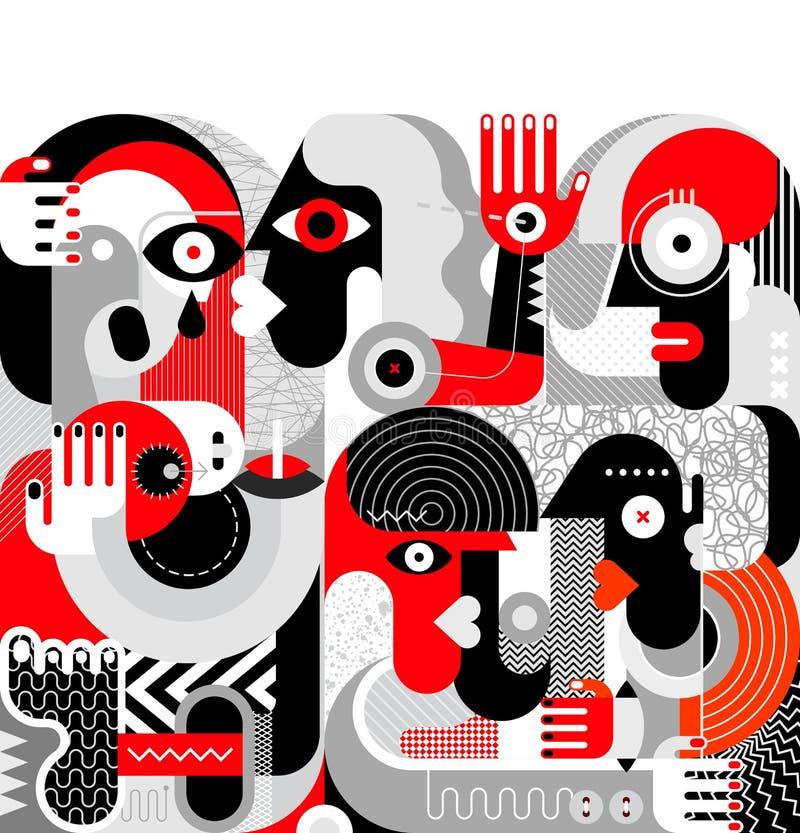 Grupp av berusat folk royaltyfri illustrationer