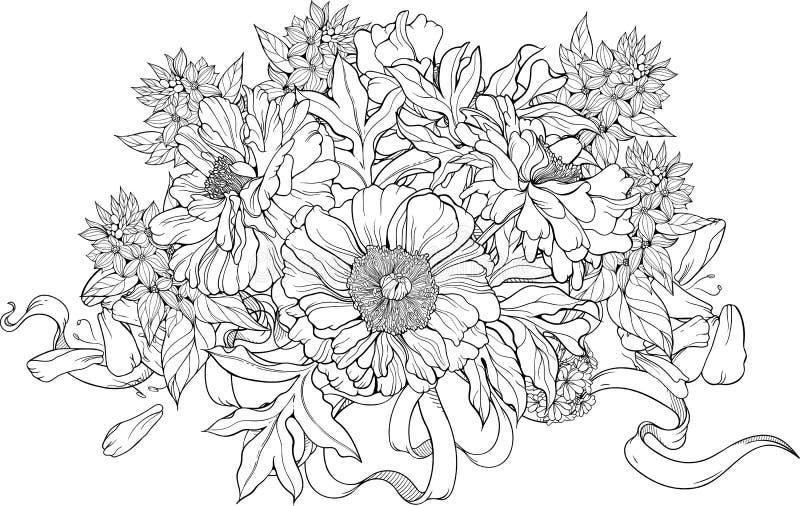 Grupp av blommor med band Färga sidan vektor illustrationer