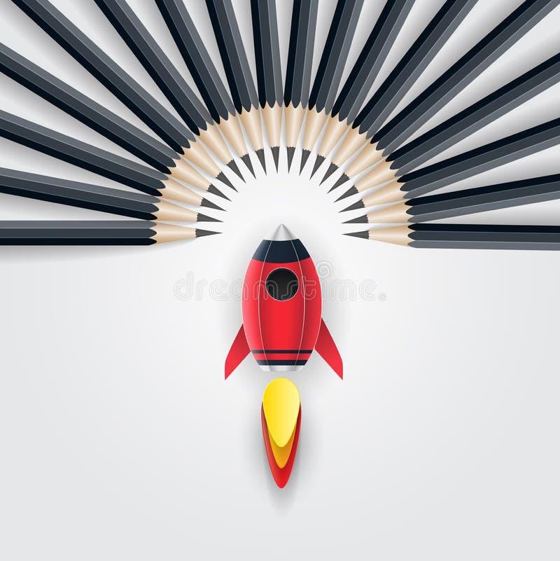 Grupp av blyertspennan med raket Begrepp för ledarskap för affärsframgång vektor illustrationer