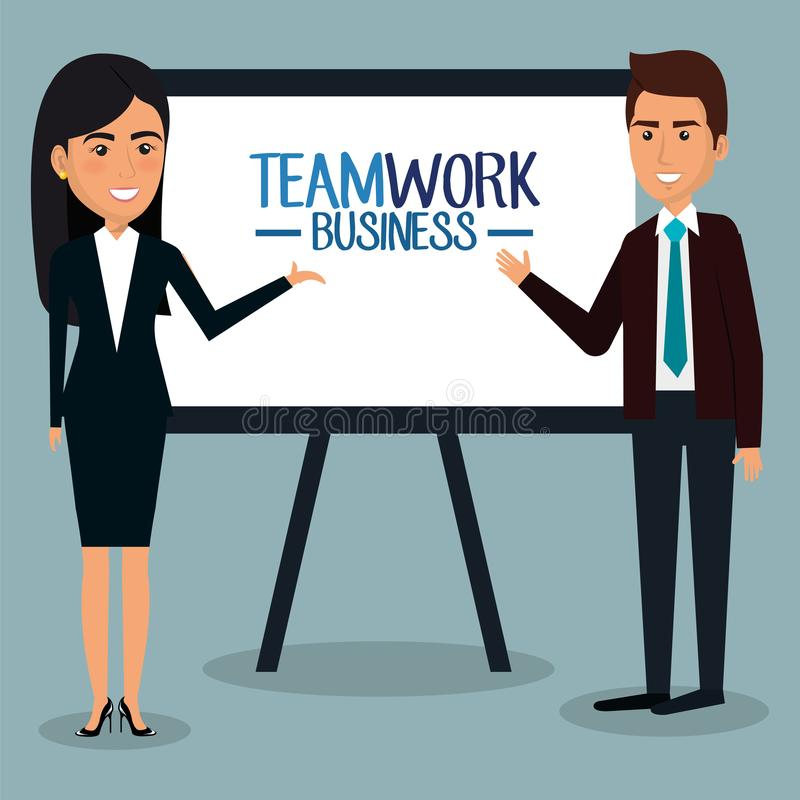 Grupp av businespeople med paperboardteamwork stock illustrationer