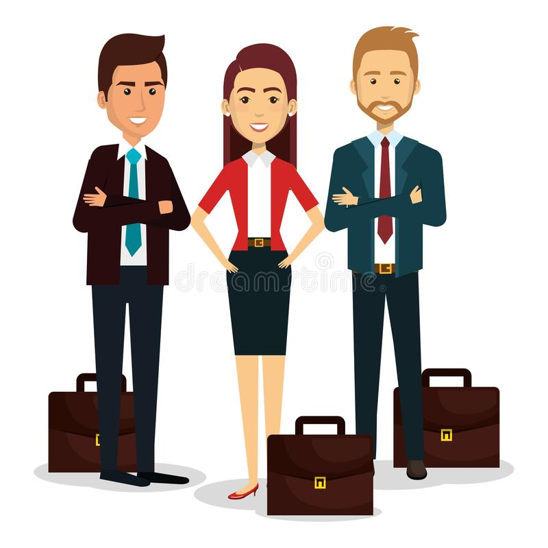 Grupp av businespeople med portföljteamwork stock illustrationer