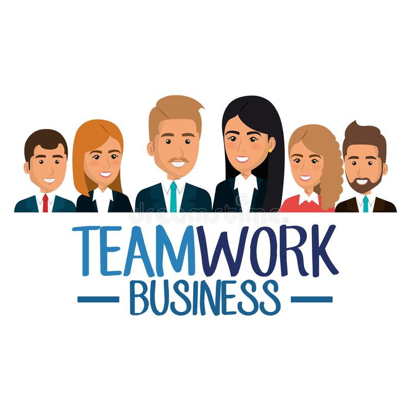 Grupp av businespeopleteamwork vektor illustrationer