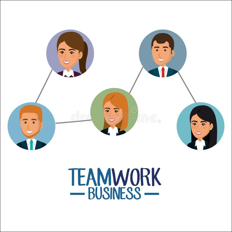 Grupp av businespeopleteamwork stock illustrationer