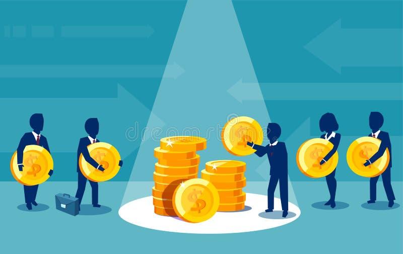 Grupp av businesspeople som betalar pengar som gör finansiella bidrag stock illustrationer