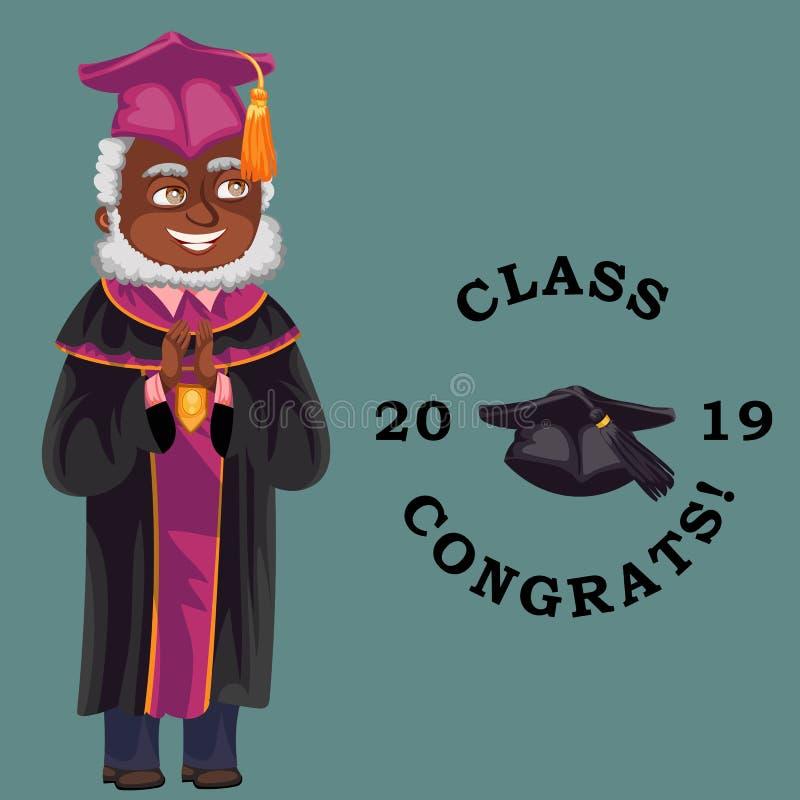 Grupp av congrats 2019 sänker den färgrika affischen med afro--amerikan lärareanseende i kappa och lock royaltyfri illustrationer