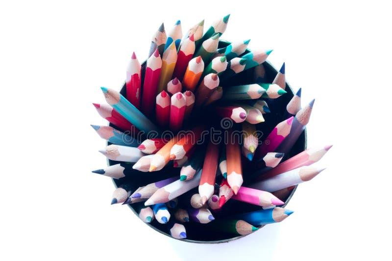 Grupp av crayons arkivfoton