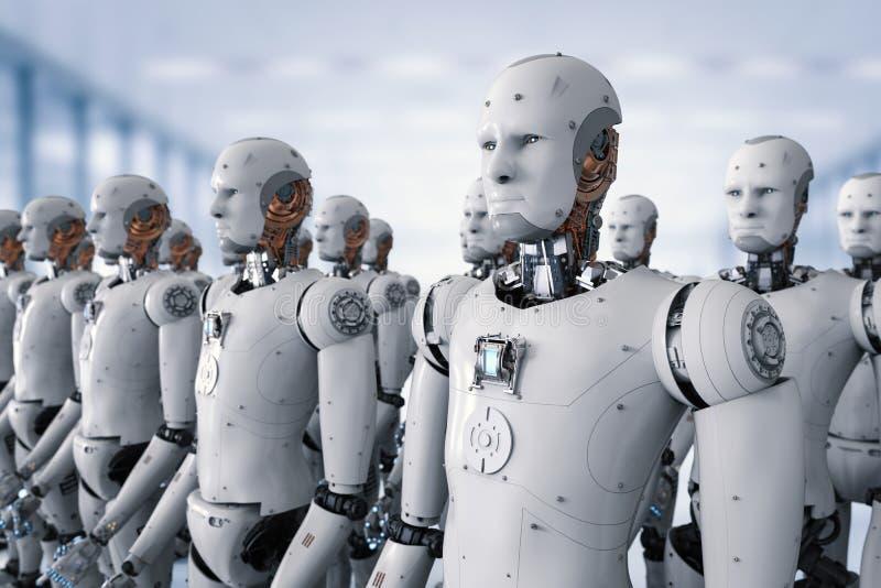 Grupp av cyborgs i fabrik vektor illustrationer