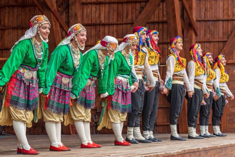 Grupp av dansare från Turkiet i traditionell dräkt royaltyfri bild