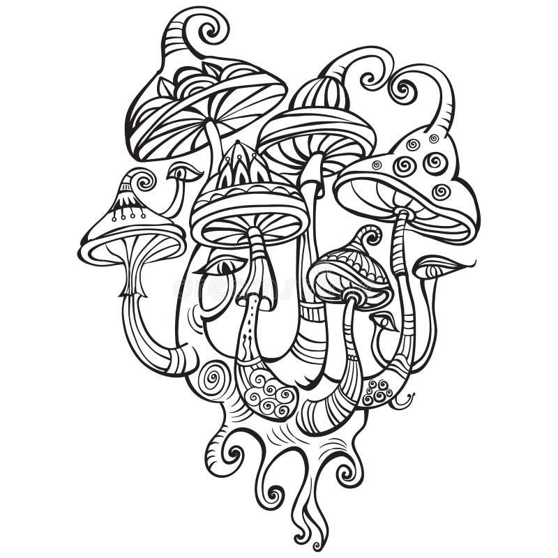 Grupp av dekorativa champinjoner stock illustrationer