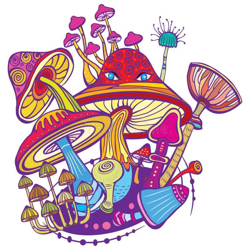 Grupp av dekorativa champinjoner royaltyfri illustrationer