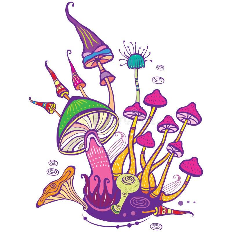 Grupp av dekorativa champinjoner vektor illustrationer