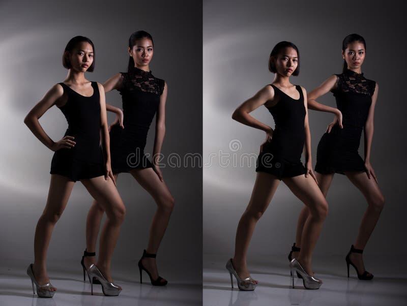 Grupp av den asiatiska ton?rs- ?ldre mer unga systern fotografering för bildbyråer