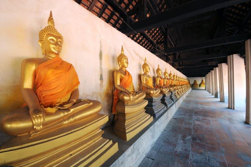Grupp av den buddha statyn, Thailand royaltyfria foton