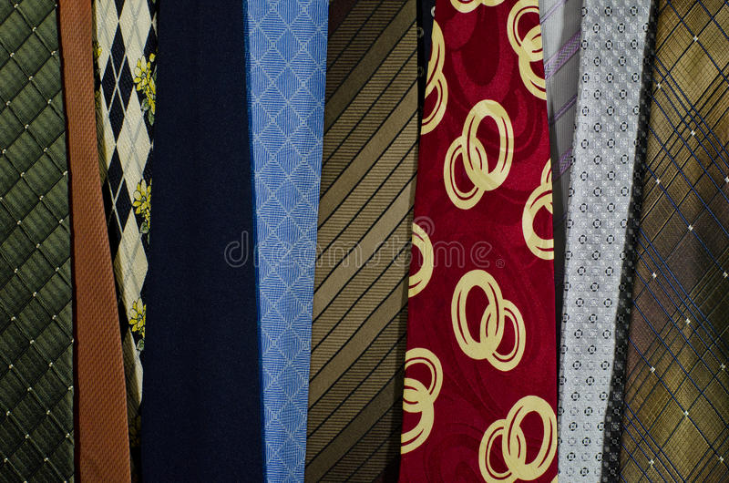 Grupp av den färgrika slipsen royaltyfri foto