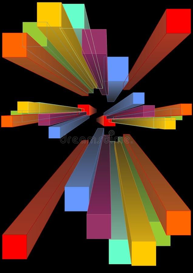 Grupp av den mångfärgade prisman 3d i perspektive som försvinner punkt Färgrik geometrisk kropp på svart bakgrund Abstrakt begrep royaltyfri illustrationer