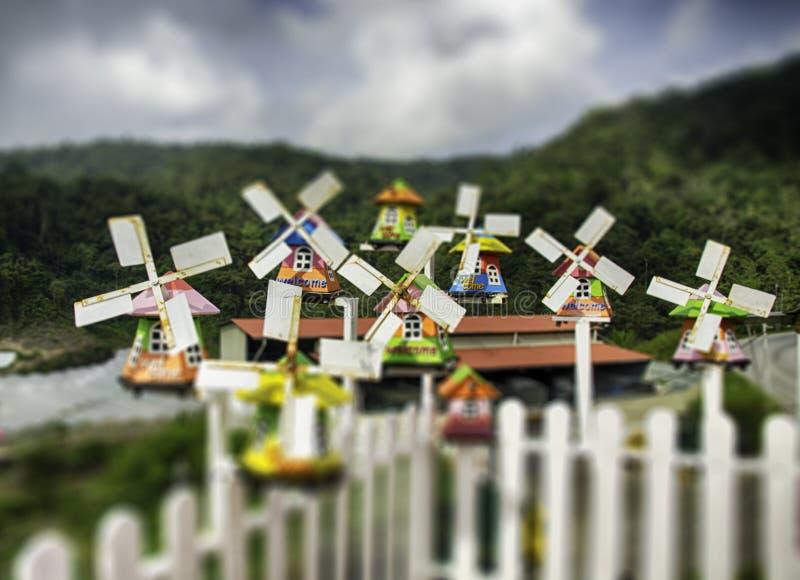 Grupp av den miniatyrtraditionella holländska gamla träväderkvarnen med bästa kullesikt fotografering för bildbyråer