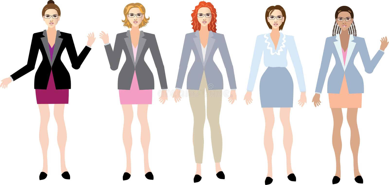 Grupp av den utövande härliga affärskvinnan som står Front View - vektorillustration stock illustrationer