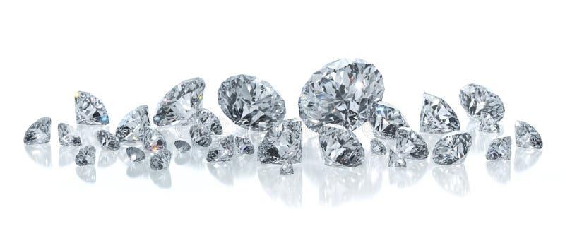 Grupp av diamanter p? en vit bakgrund stock illustrationer
