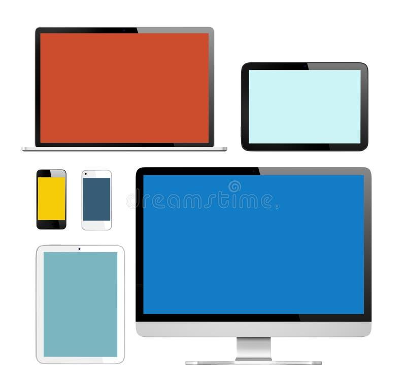 Grupp av Digital apparater med färgrika skärmar vektor illustrationer