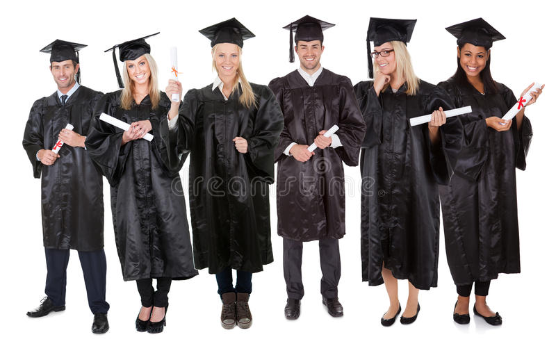 Grupp av doktorander arkivbilder