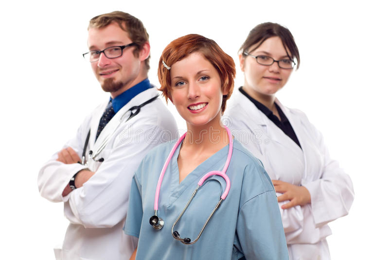Grupp av doktorer eller sjuksköterskor på en vit bakgrund royaltyfri bild