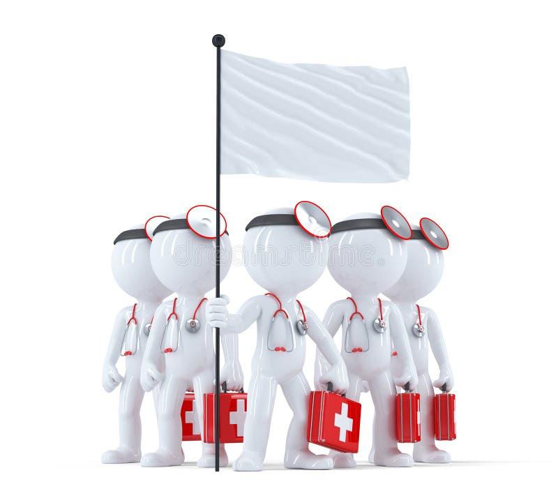 Grupp av doktorer med den tomma flaggan isolerat Innehåller den snabba banan royaltyfri illustrationer