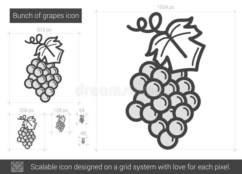 Grupp av druvalinjen symbol royaltyfri illustrationer