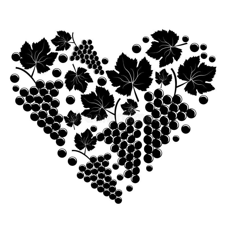 Grupp av druvor i form av hjärta stock illustrationer