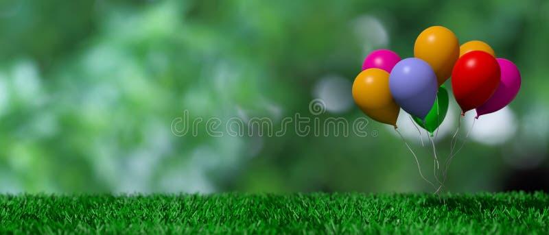 Grupp av färgrika ballonger på grönt gräs och abstrakt begreppbakgrund illustration 3d stock illustrationer